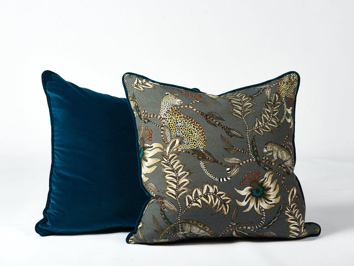 Ardmore teal velvet cushion