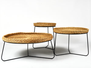 rattan side table nest
