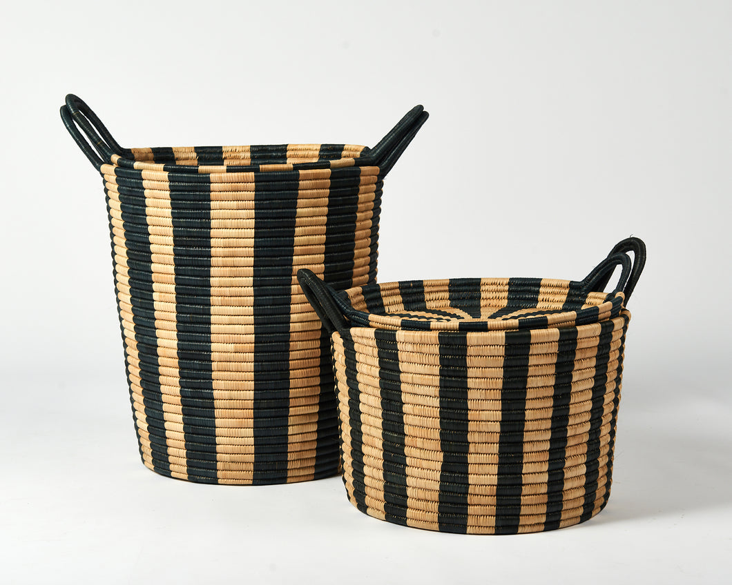 Striped Basket - black