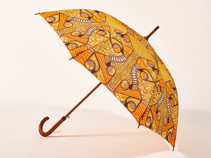 Orange African Print Umbrella