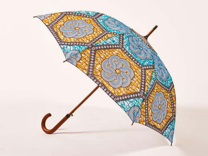 Pale Blue African Print Umbrella