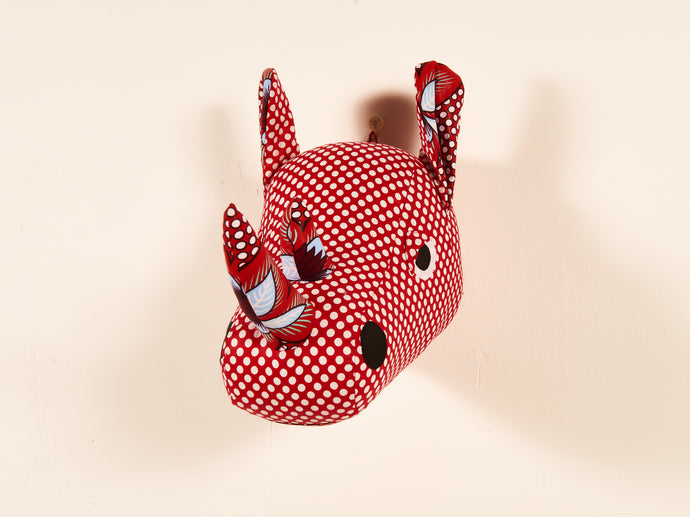 Red Rhino Animal Head