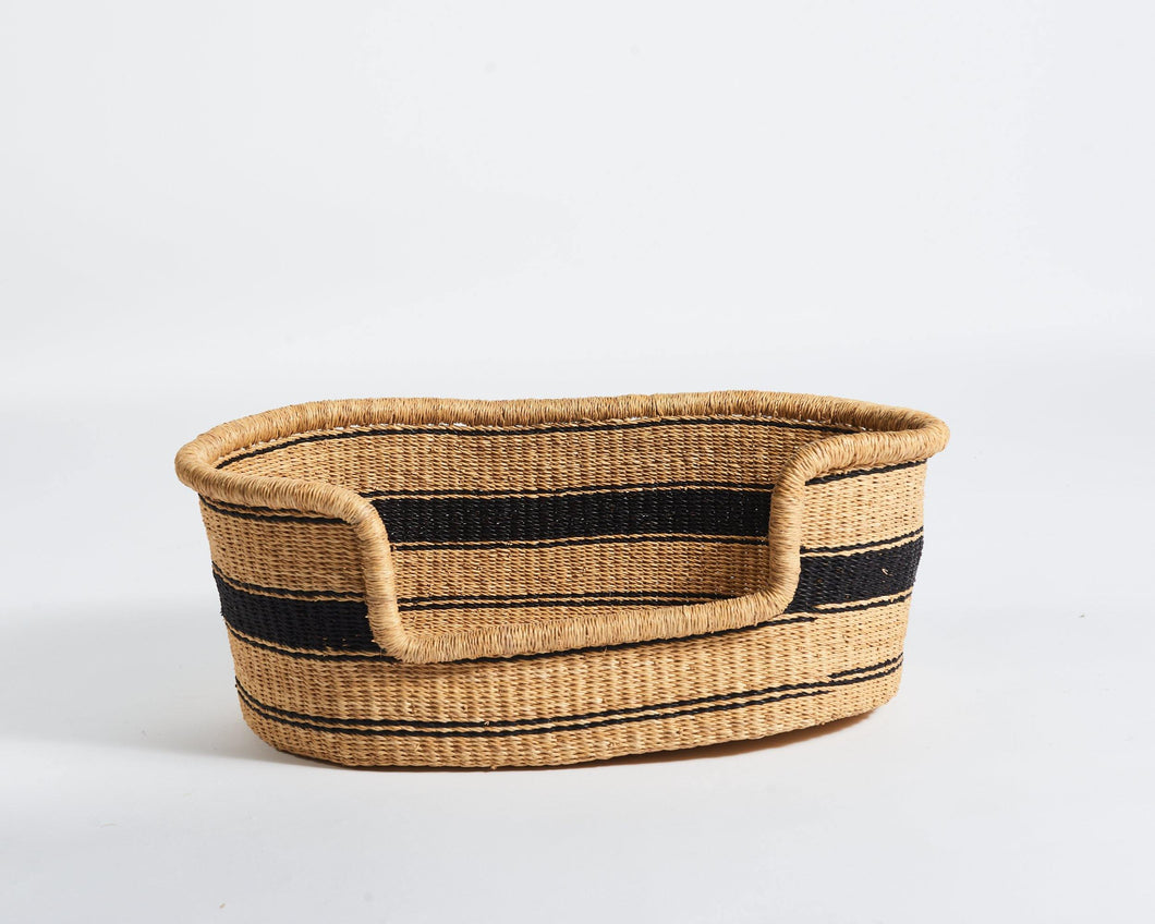 Baba Small Dog Basket in Solid Black Stripe