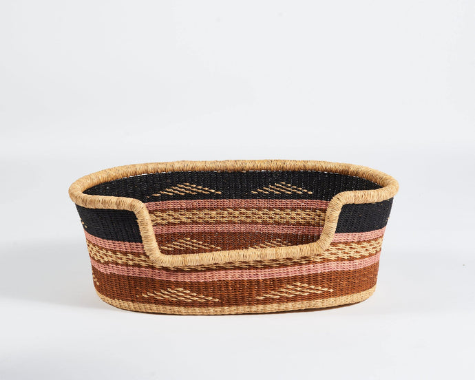 Baba Small Dog Basket in Pink and Rust