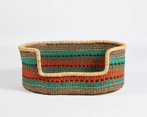 Baba Medium Dog Basket in Green and Orange - Hadeda Limited