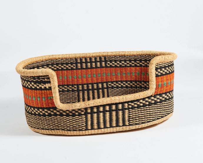 Baba Large Dog Basket in Orange Stripe - Hadeda Limited