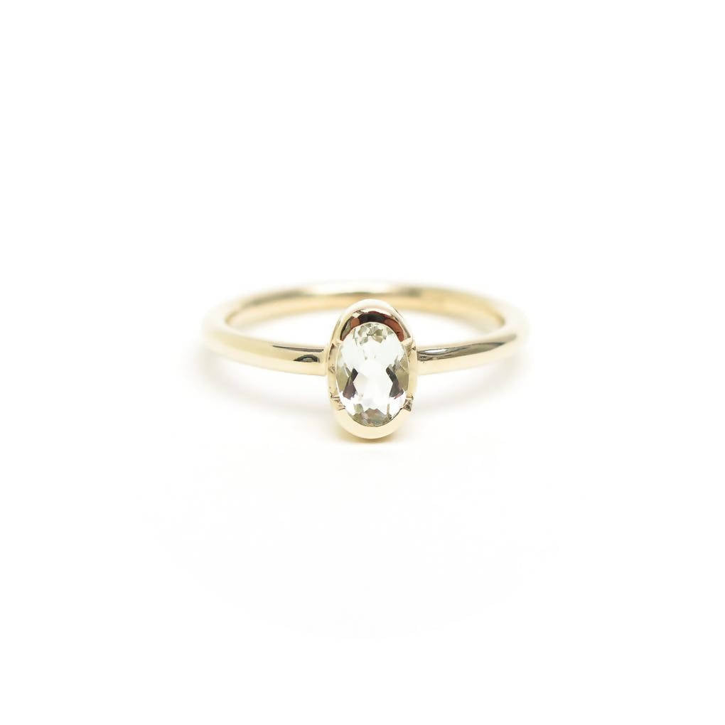 Channel Set Oval Praisolite Ring in Solid 9ct Yellow Gold