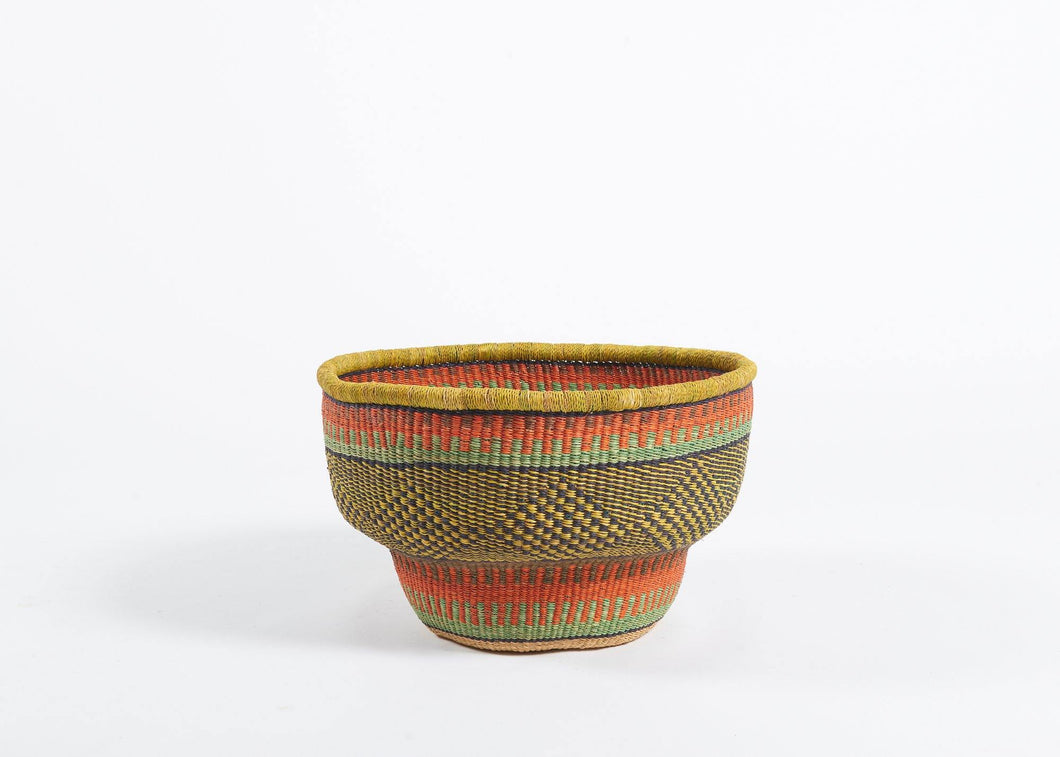 Baba Bolga Drum Basket in Coral and Ochre