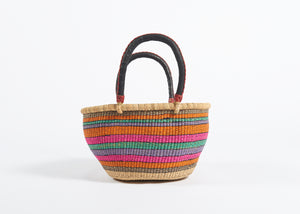 Large Oval Bolga Basket in Candy Stripes