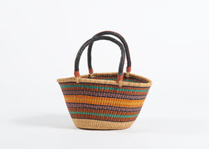 Large Oval Bolga Basket in Orange Stripes