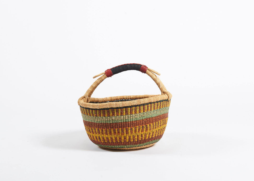 Bolga Round Basket in Rust and Ochre