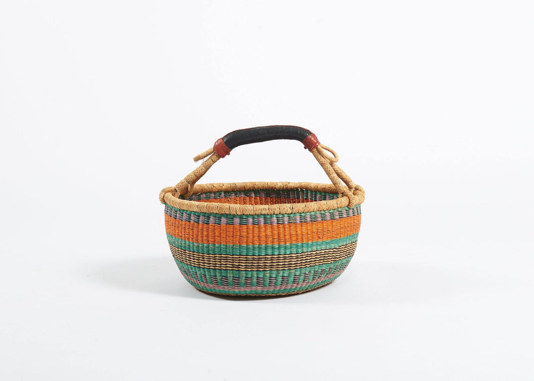 Bolga Round Basket in Orange and Turquoise