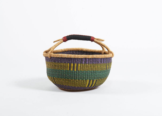 Bolga Round Basket in Violet and Yellow