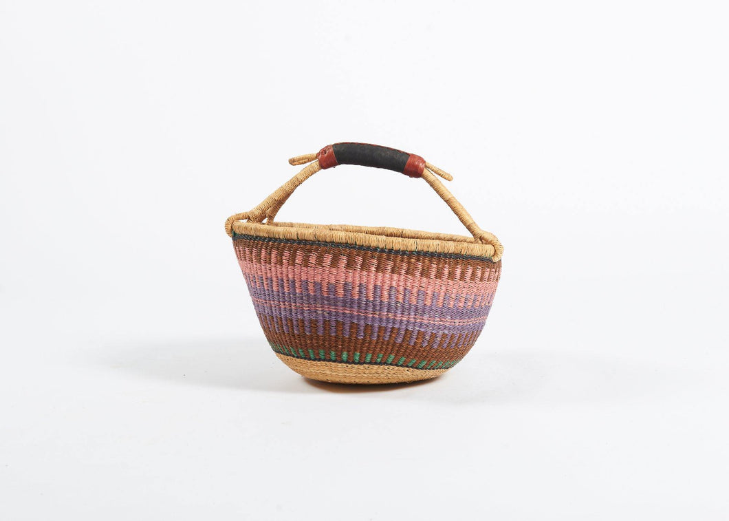Bolga Round Basket in Pastel Stripes