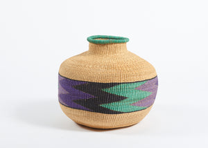 Jemima 10 Cows pot in purple and jade zig-zag pattern