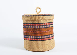 Baba Medium Lidded Laundry Basket in Bright Stripes