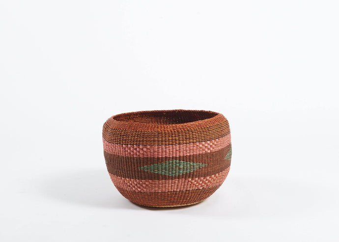 Baba Bowl in rust and pink stripes - Hadeda Limited