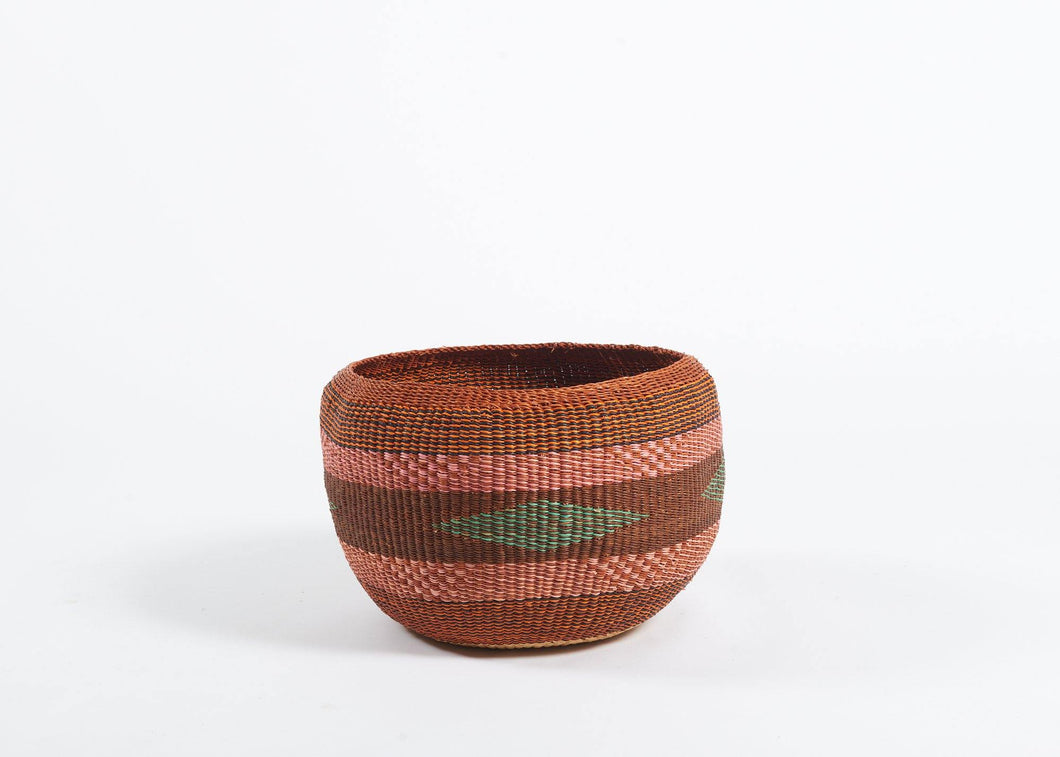 Baba Bowl in rust and pink stripes