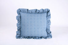 Load image into Gallery viewer, Shweshwe Ruffle cushion - Blue Circles