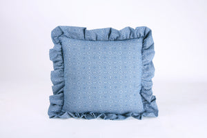 Shweshwe Ruffle cushion - Blue Circles