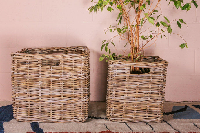Thick Grey Rattan Basket - Square Handles - Hadeda Limited