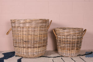 Thick Grey Rattan Storage Basket - Rope Handles