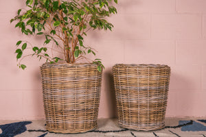 Thick Grey Rattan Planter with Lining