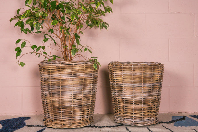 Thick Grey Rattan Planter with Lining - Hadeda Limited