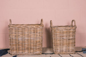 Thick Grey Rattan Square Basket with Handles - 2