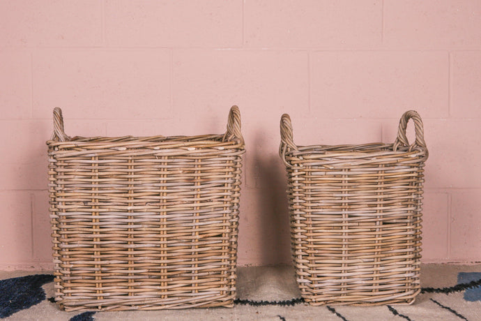 Thick Grey Rattan Square Basket with Handles - 2 - Hadeda Limited
