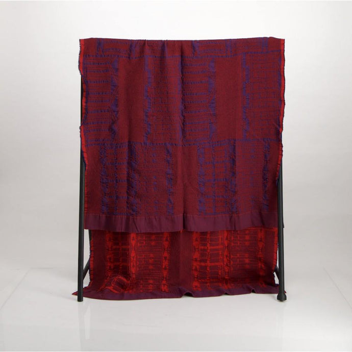 Bologan Linen Throw Blue on Red