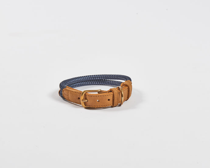 Chommies Medium Dog Collar in Navy rope