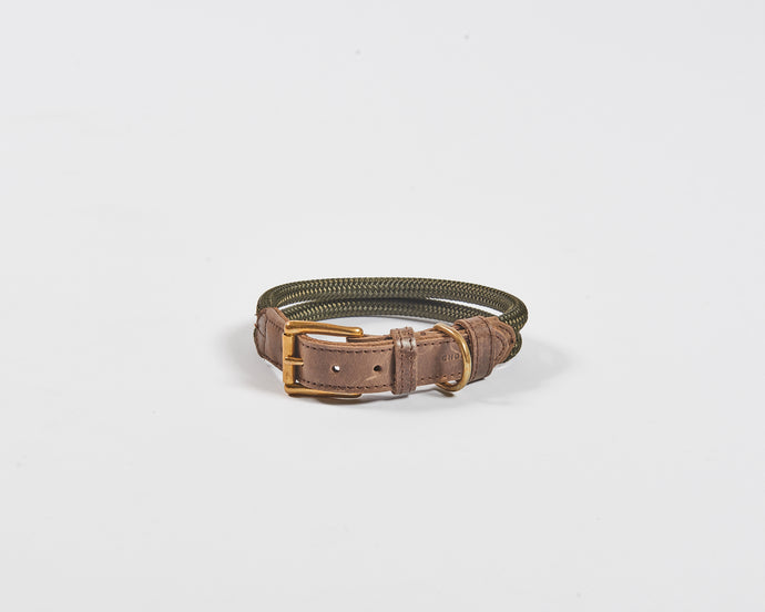Chommies Medium Dog Collar in Olive rope