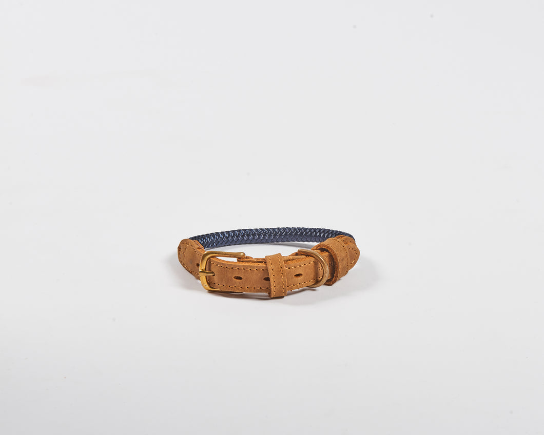 Chommies Small Dog Collar with Navy rope