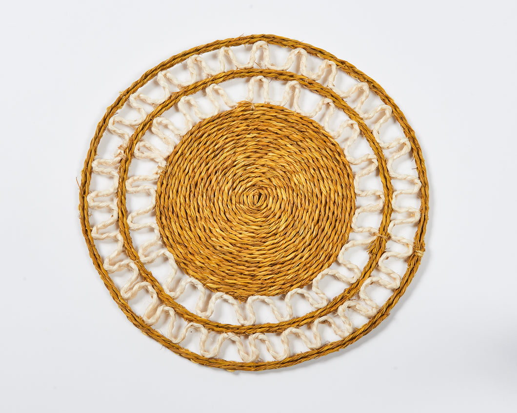 Mustard and white woven grass ripple place mat