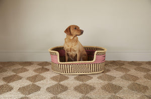 Baba Large Dog Basket in Pink Stripe