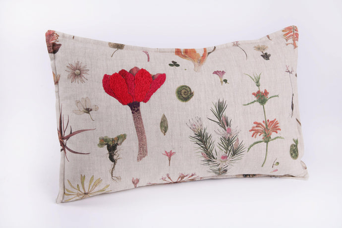 Natural Linen Cushion, Floral Print - Hadeda Limited