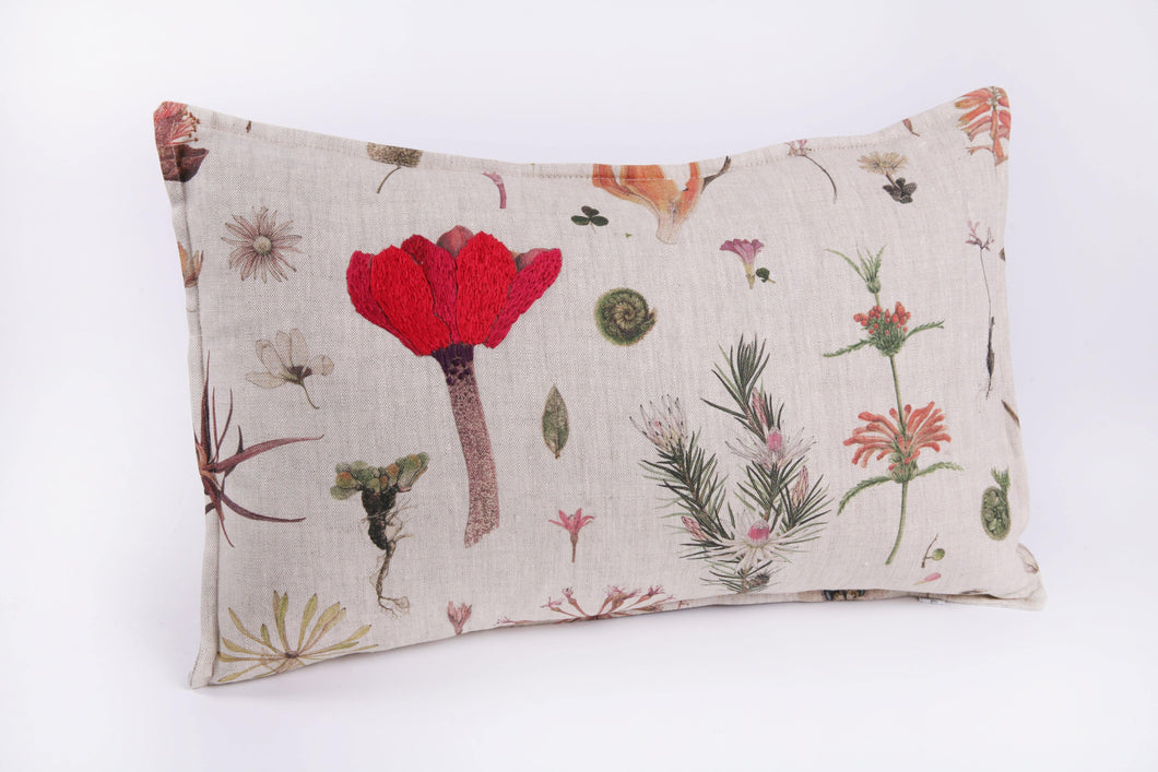 Natural Linen Cushion, Floral Print