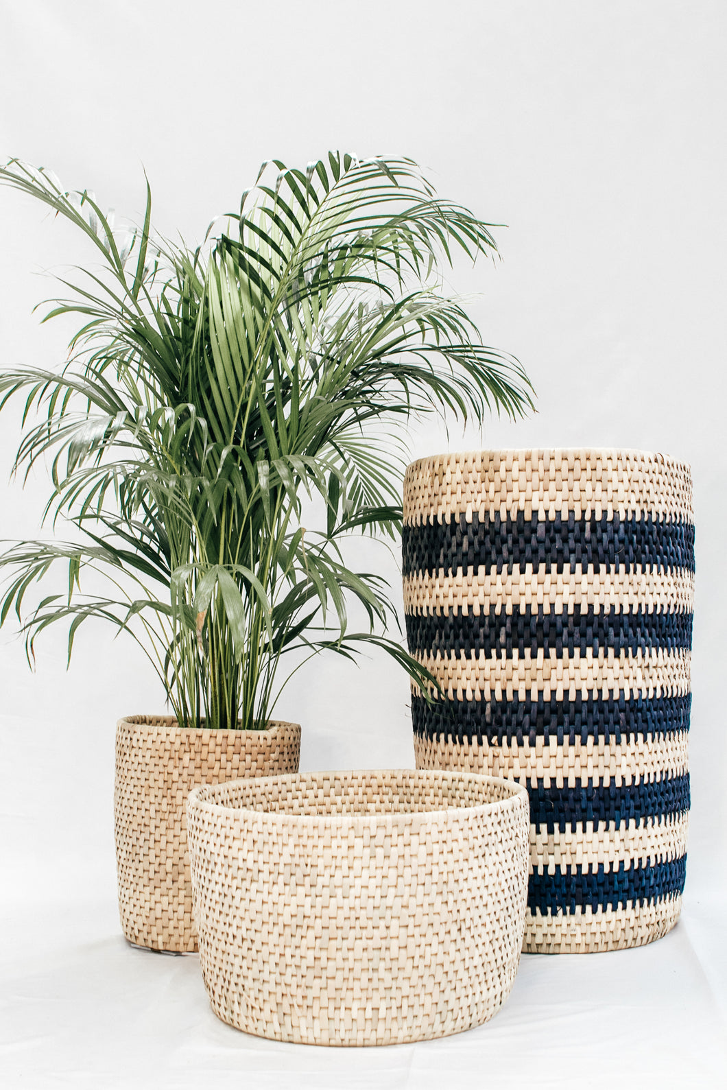 Indigo Striped Basket