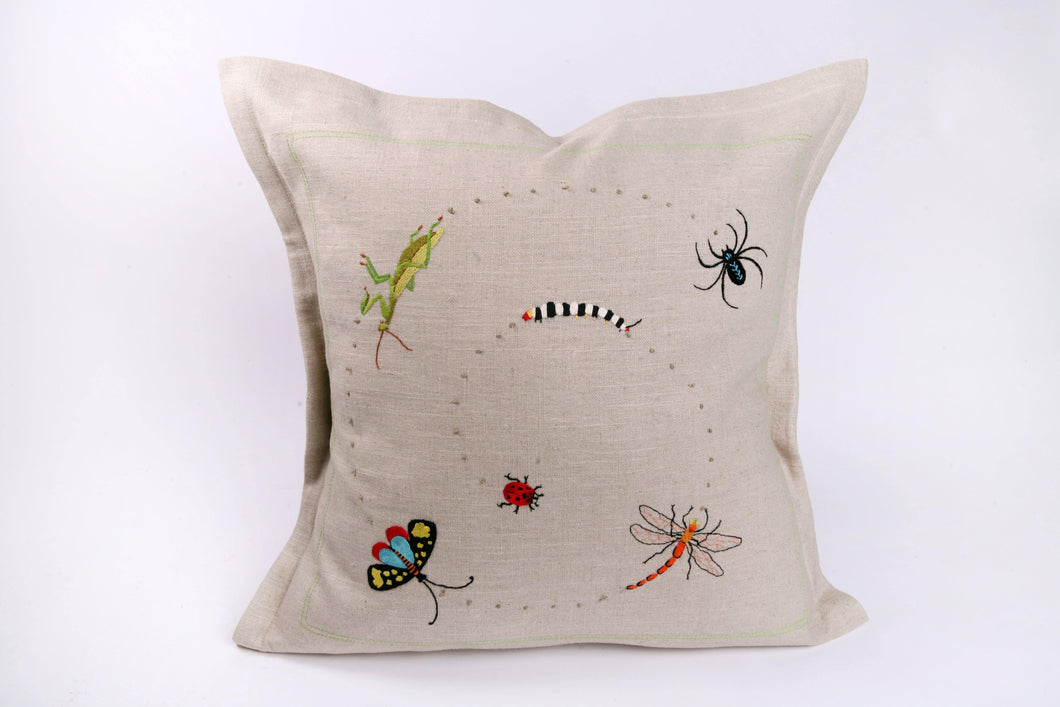 Embroidered 'Bugs' Cushion - Hadeda Limited