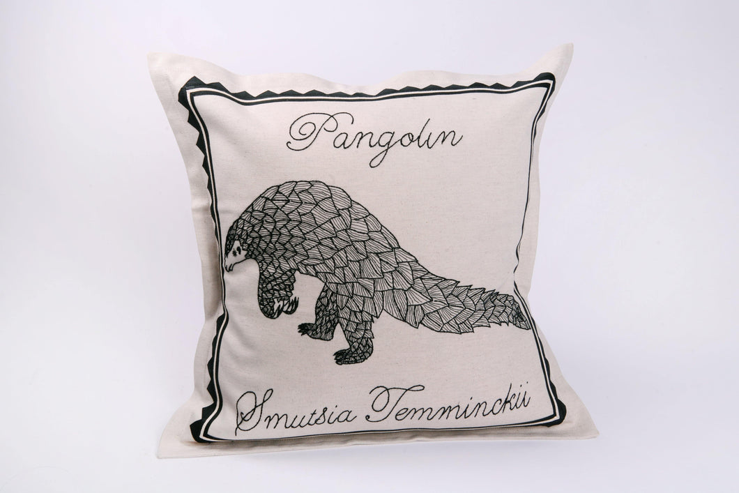 Embroidered 'Pangolin' Cushion