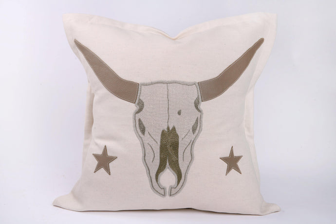 Embroidered 'Stars and Skull' Cushion - Hadeda Limited