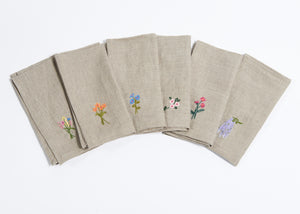 Mogalakwena floral embroidered napkins - set of 6