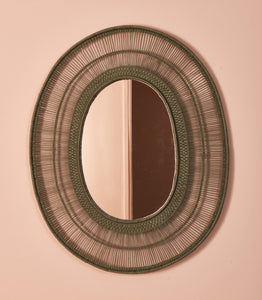 Oval Cane Mirror in Green