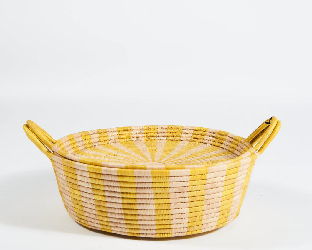 Striped Basket in Yellow - Small - Hadeda Limited