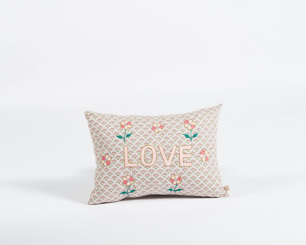 Love embroidered cushion in blush