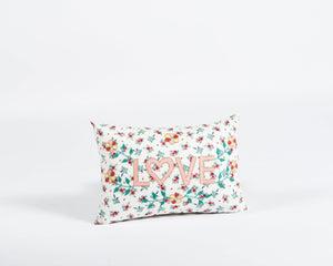 Love embroidered cushion in floral print