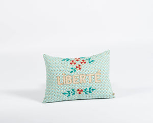 Liberté embroidered cushion in mint
