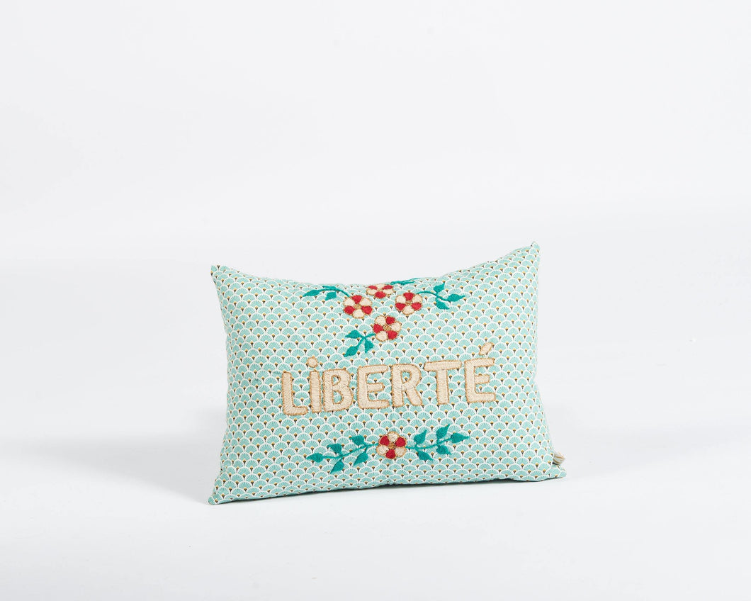 Liberté embroidered cushion in mint - Hadeda Limited