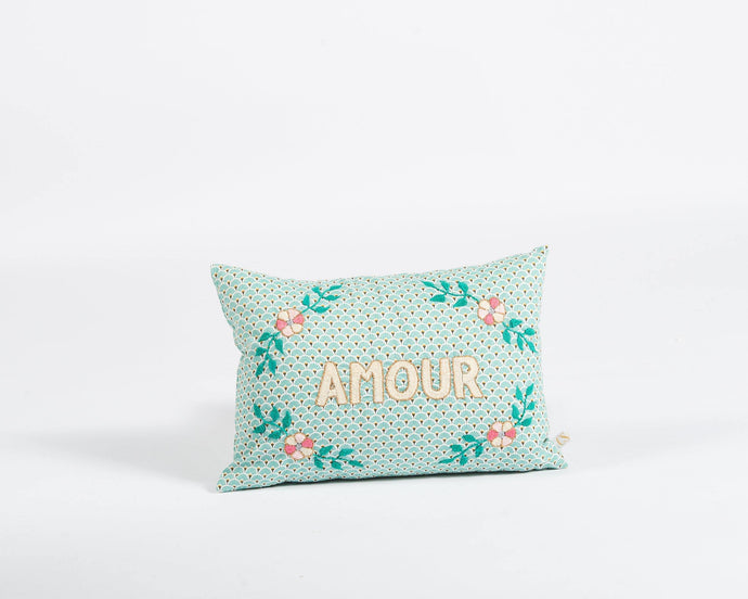 Amour embroidered cushion in mint